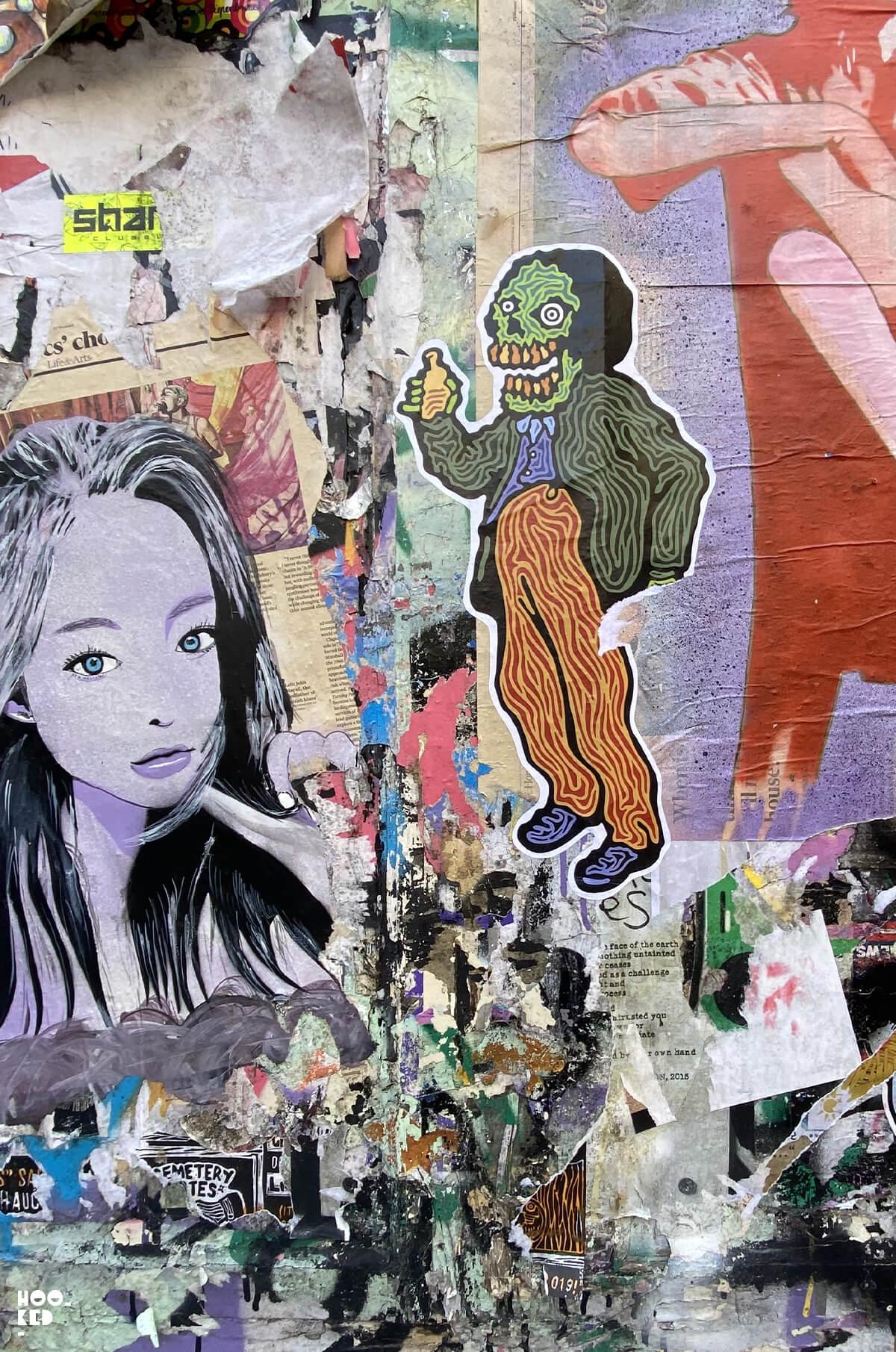 Street Art Paste-ups in London by Rx Skulls, Seven Star Yard