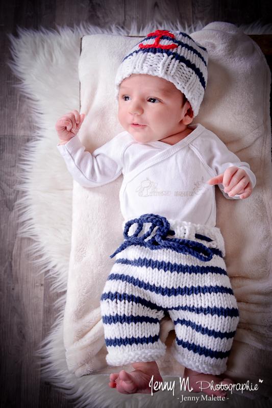 photo de bébé en tenue de marin, shootin nouveau né la roche sur yon