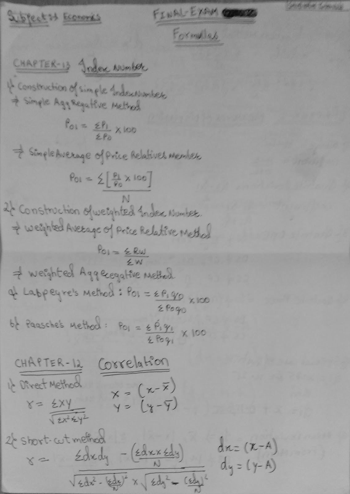 Economics Formulas for class-XI (of all chapters)