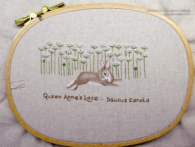 Embroidered hare nearly complete from Jenny McWhinney's Queen Anne's Lace