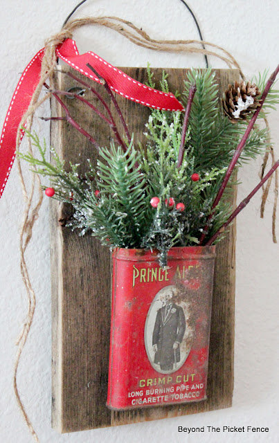 Rustic Repurposed Christmas Tobacco Tin