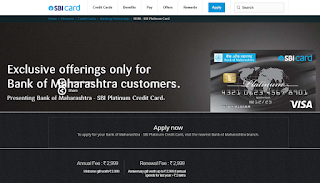 Bank of Maharashtra - SBI Platinum Credit Card, How to Apply SBI Credit Card Online
