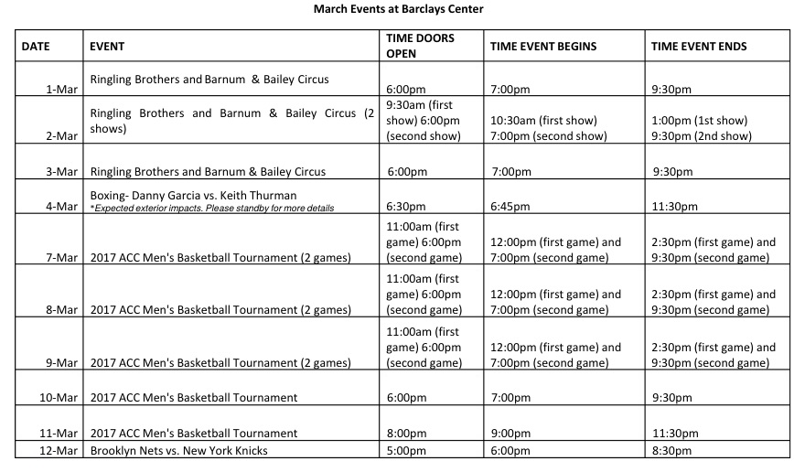 Barclays Center releases March 2018 event calendar: 24 ticketed