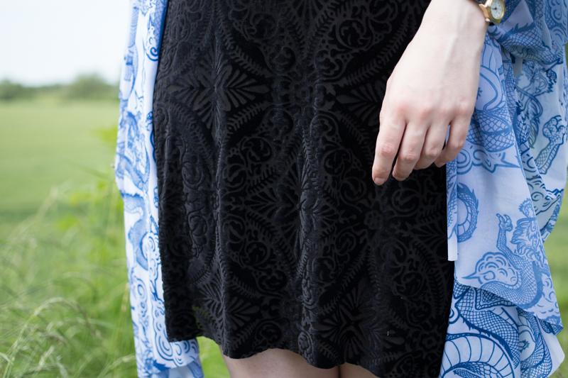 black milk clothing tatsu kimono dragon burned velvet dress