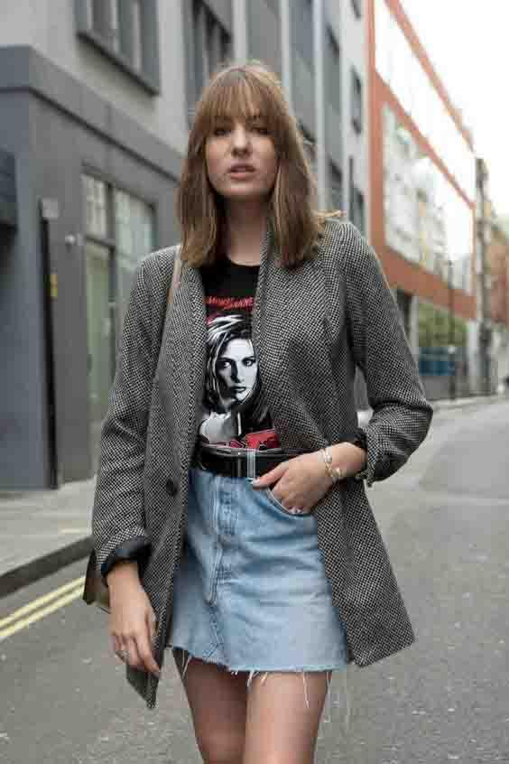 Saia jeans e blazer: o duo do momento
