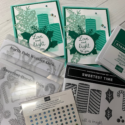 Stampin' Up Sweetest Time Bundle for monochromatic Christmas Cards