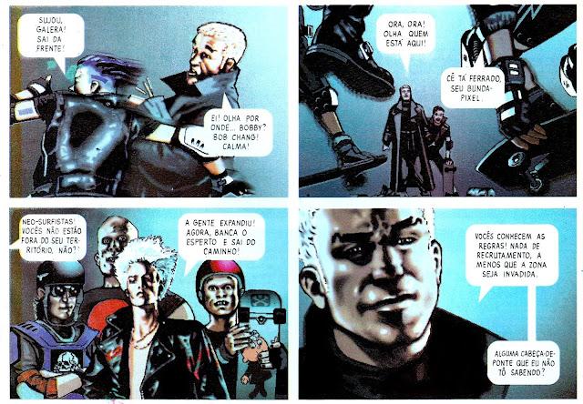 Pagina da hq Batman Digital Justice que mostra as gangues no Gothan City do futuro