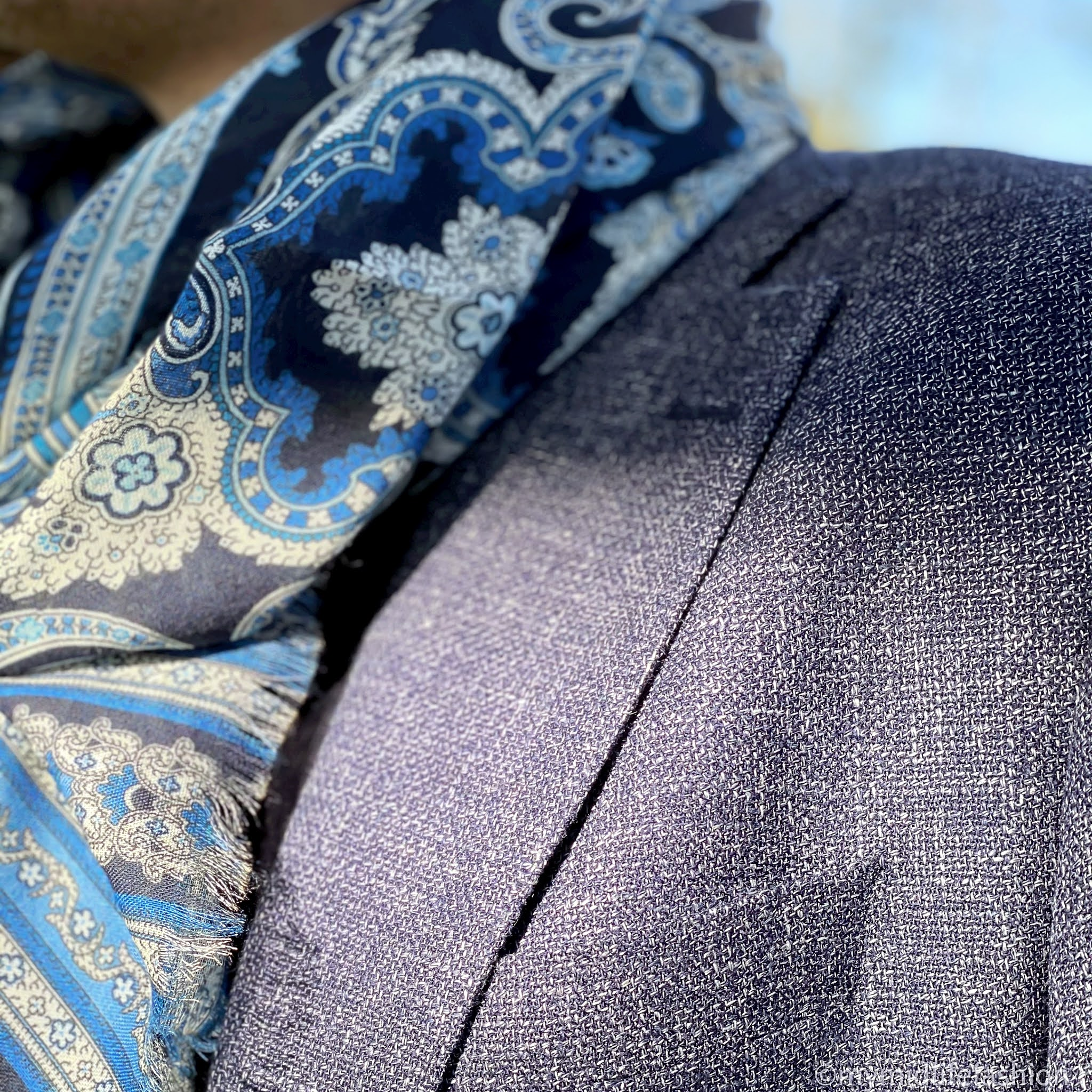 my midlife fashion, hawes and Curtis Italian wool linen blend mens jacket, hawes and curtain merino wool polo neck jumper, hawes and Curtis navy and blue big paisley scarf