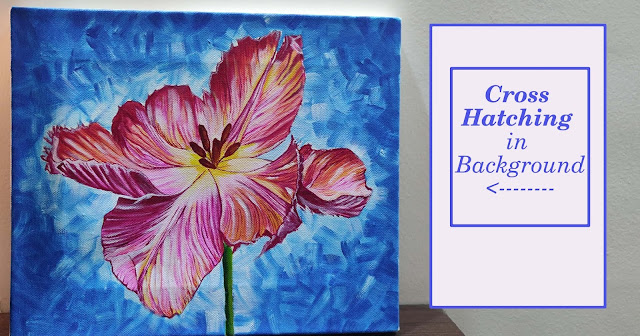Magenta Floral Acrylic painting with blue background