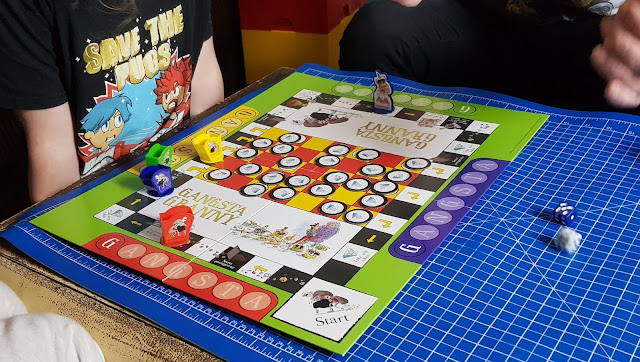 Gangsta Granny Board Game Gameplay in action travel around a board