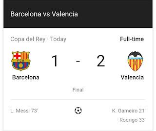 Breaking: Valencia Beat Barcelona 2-1 To Win Copa del Rey