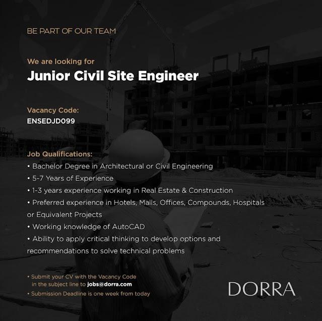 مطلوب مهندس مدني موقع لشركة درة