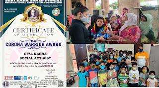 Corona-Warrior-Honour Riya Ankit Dagra Jaipur