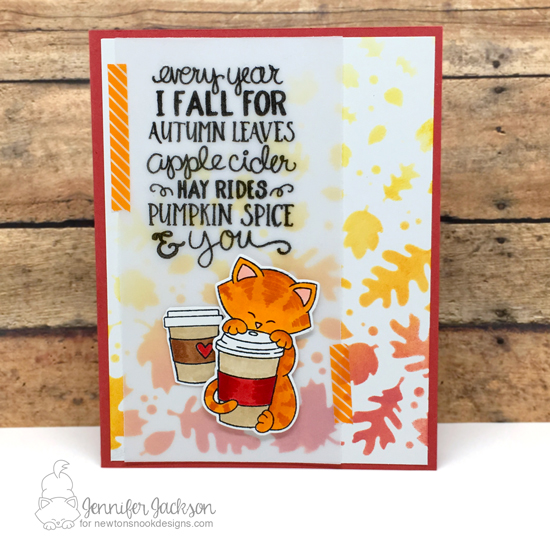 Fall Coffee Lovers Blog Hop! Coffee card by Jennifer Jackson using Fall-ing for You and Newton Loves Coffee Stamp Sets  and Falling Leaves Stencil by Newton's Nook Designs #newtonsnook #handmade