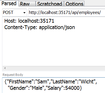 asp.net web api post json fiddler