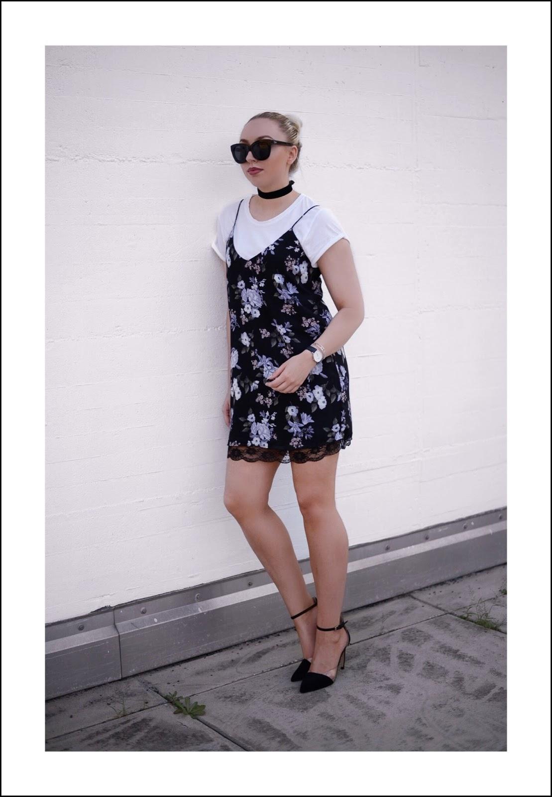 lace slip dress over shirt