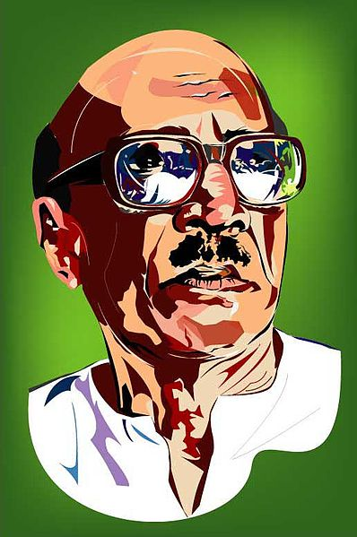 The Potrait of famous Malayalam Writer Vaikom Muhammad Basheer, also known as Beypore Sultan