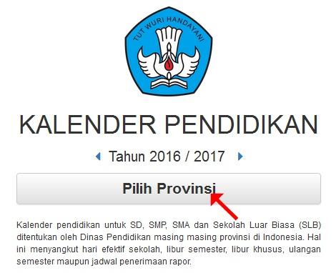 Kalender Pendidikan 2016/2017 seluruh Provinsi Indonesia