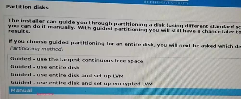 proses membuat partisi kali linux
