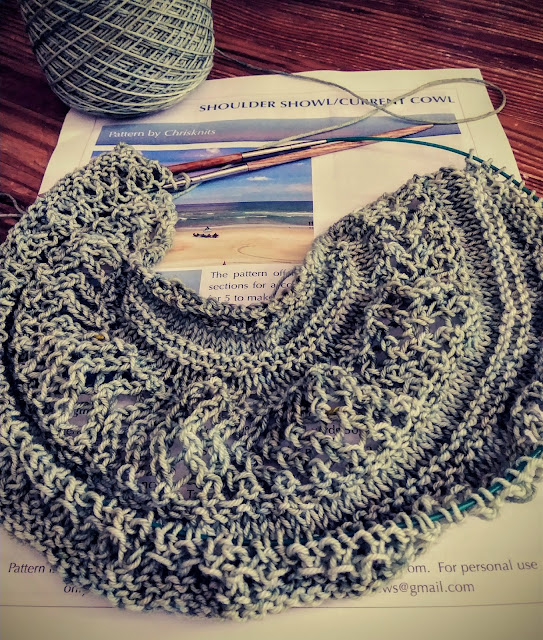 test knitting a cowl for chrisknits https://chrisknits.wordpress.com/2019/09/18/wednesday-whims/