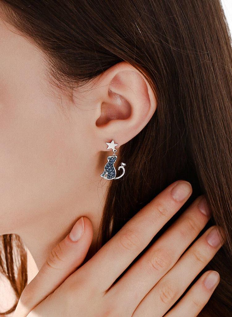不對稱風月圓喵更圓水晶耳環
