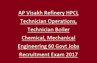 AP Visakh Refinery HPCL Technician Operations, Technician Boiler Chemical, Mechanical Engineering 60 Govt Jobs Recruitment Exam 2017