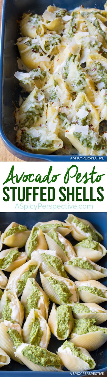 Avocado Pesto Stuffed Shells