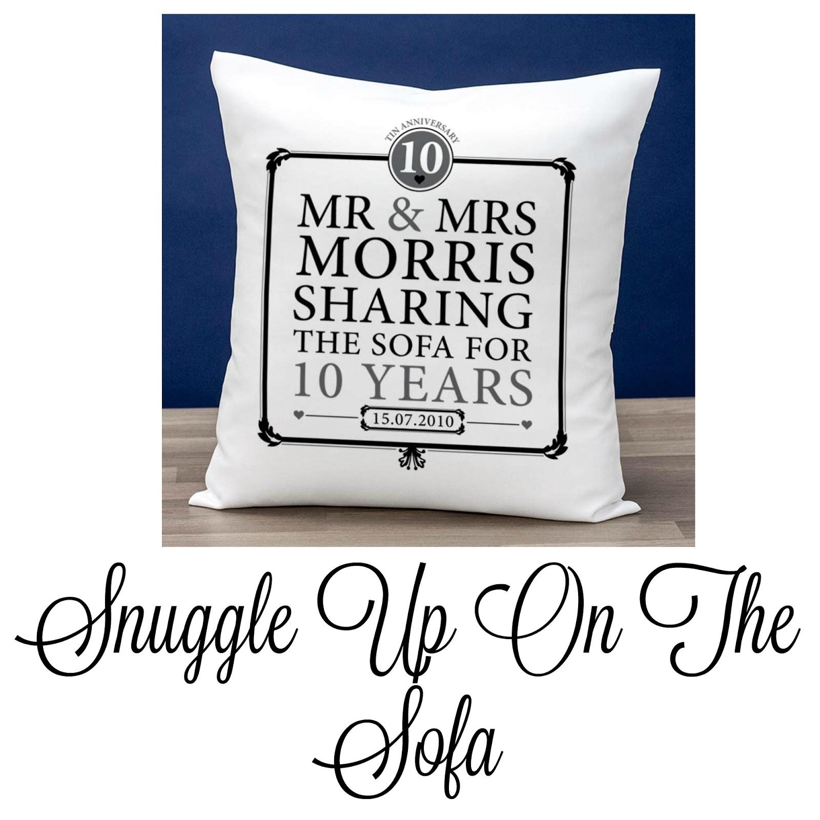 a 10th anniversary sofa cushion