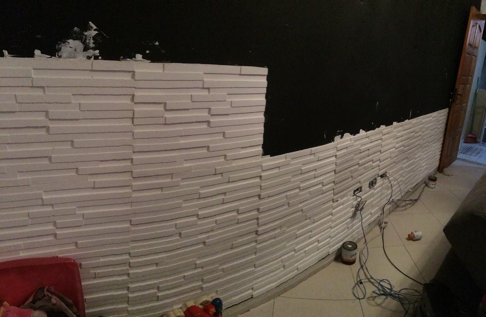 na Casa 3 Parede da Sala Gesso 3D Pare