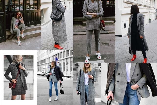 Blogger trend geruite kleren checked blazer grijze ruiten patroon