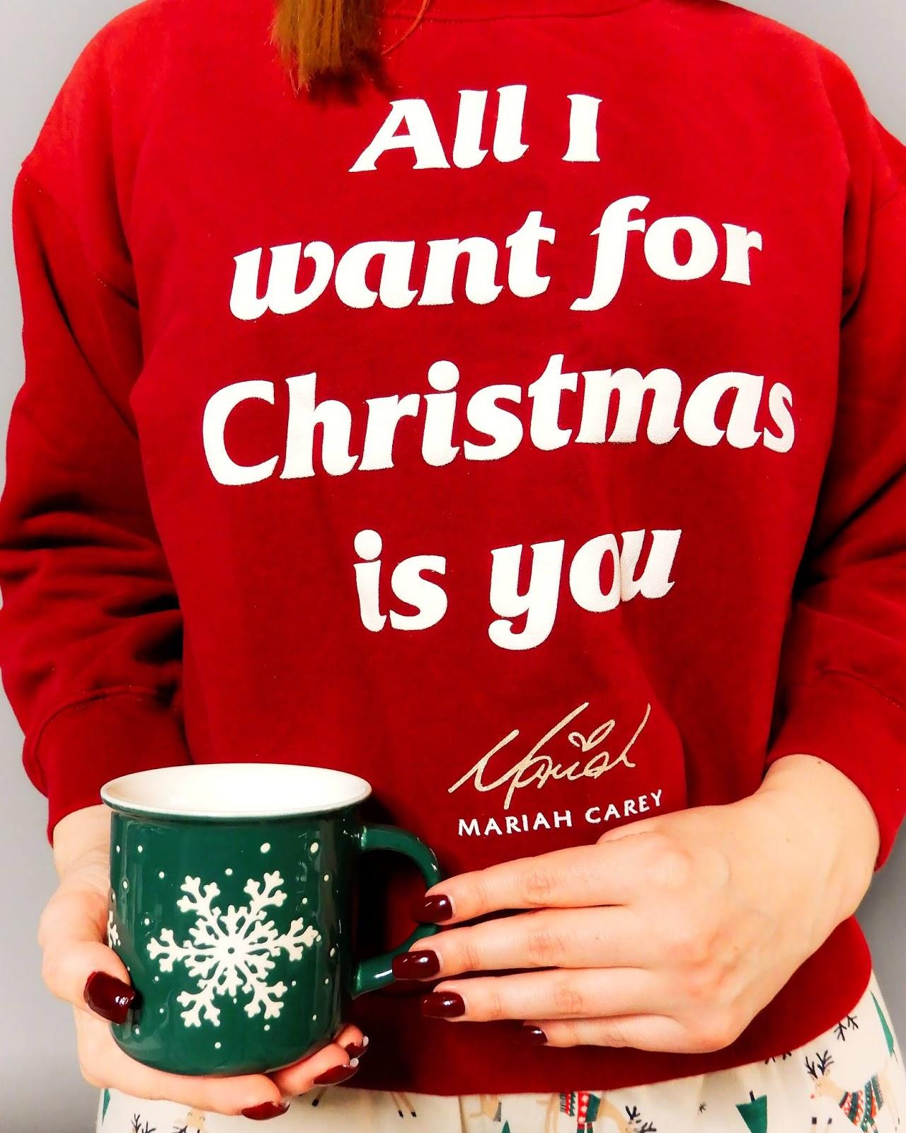 świąteczna bluza Oysho, świąteczne inspiracje, świąteczna piżama primark, świąteczny kubek homla,