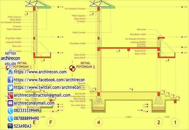 Desain Masjid Antisipatif - Detail Potongan
