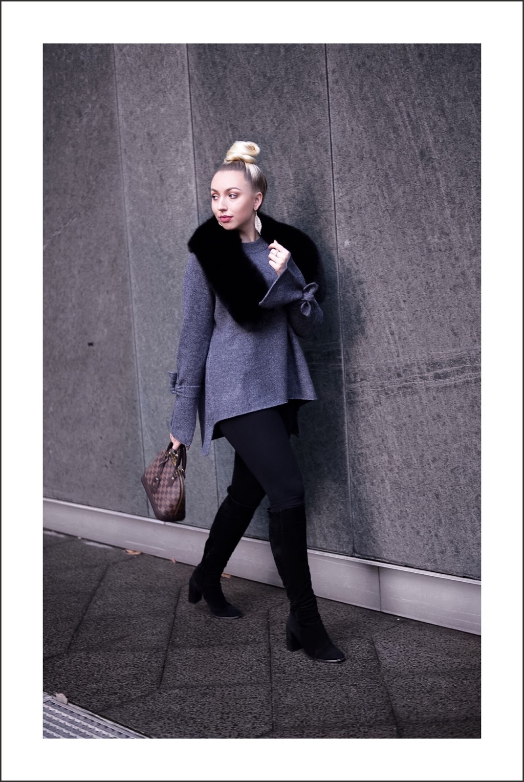 what to wear for winter_zara sweater_louis vuitton alma bb_black fur stola_knee high boots