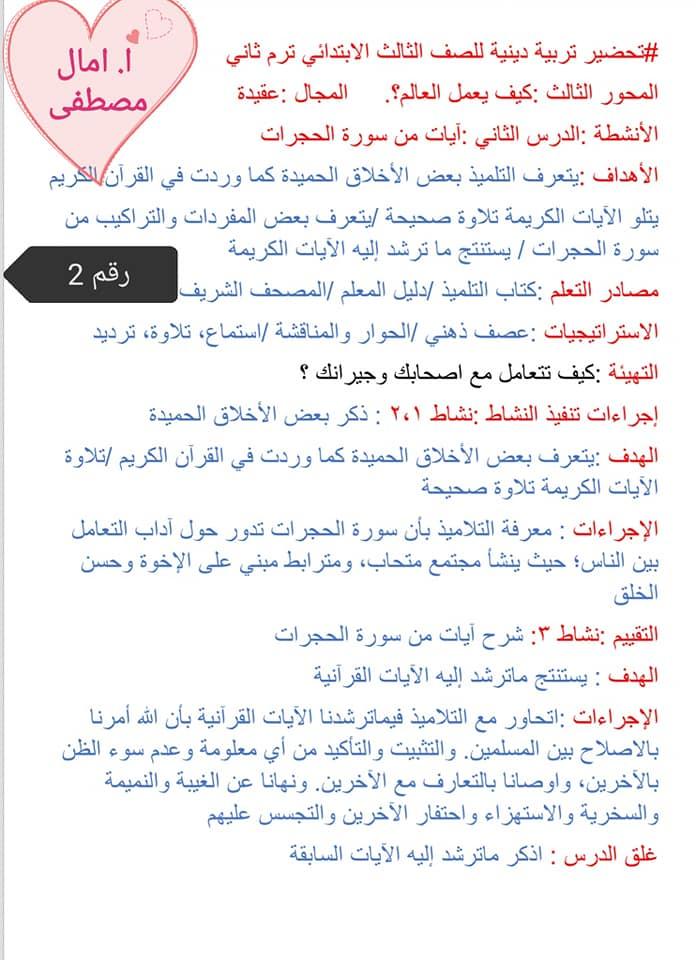 تحضير تربية اسلامية للصف الثالث الابتدائي الفصل الدراسي الثاني كاملا