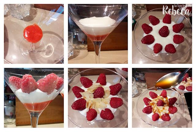 Receta de mousse de queso y yogur con frambuesas: el montaje de las copas