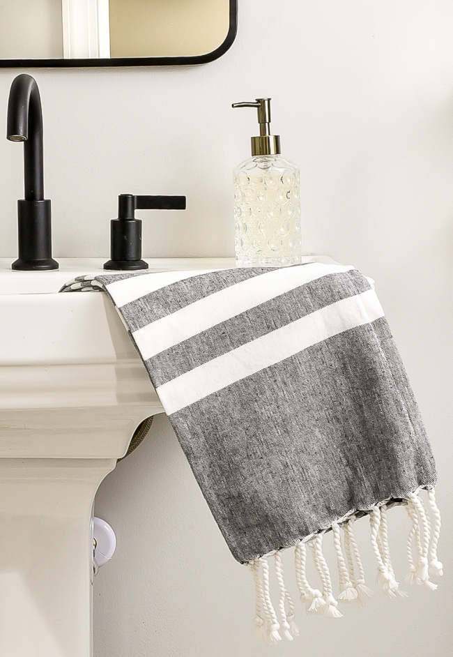 Gray and white turkish towels