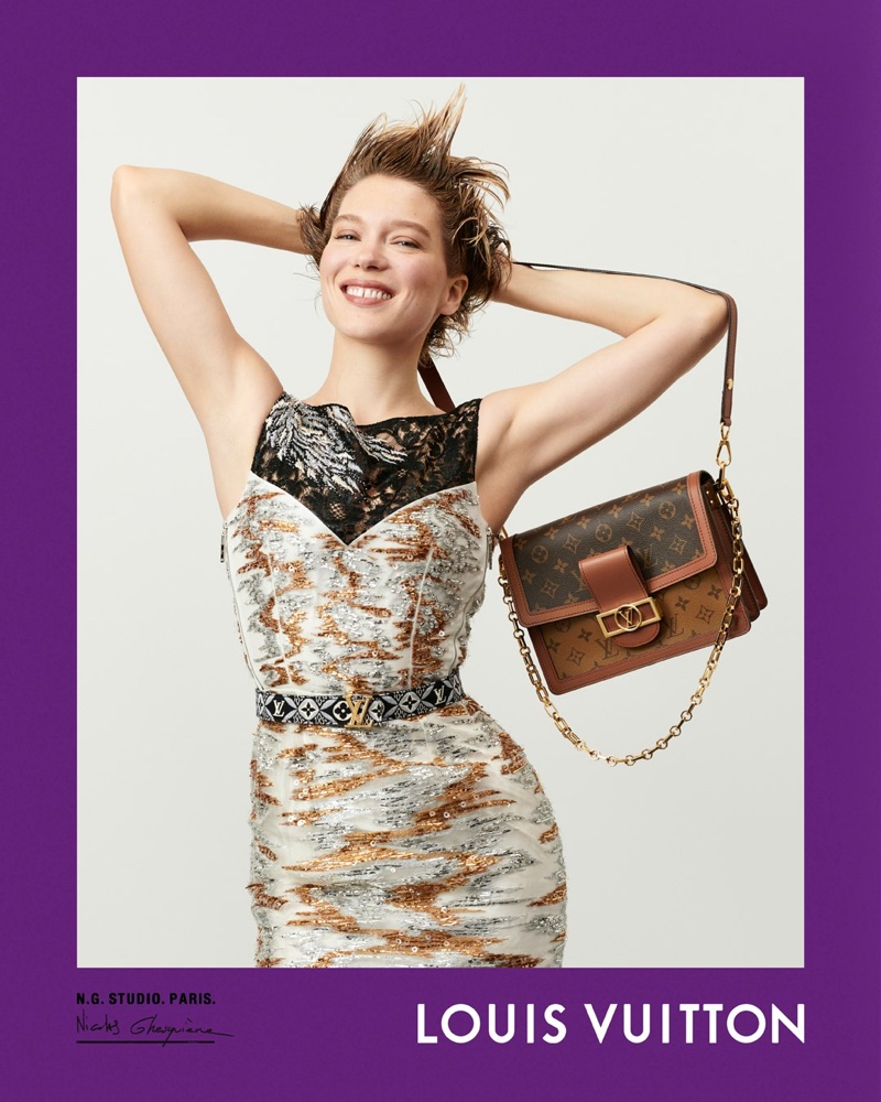 Lea Seydoux poses for Louis Vuitton fall-winter 2020 campaign.