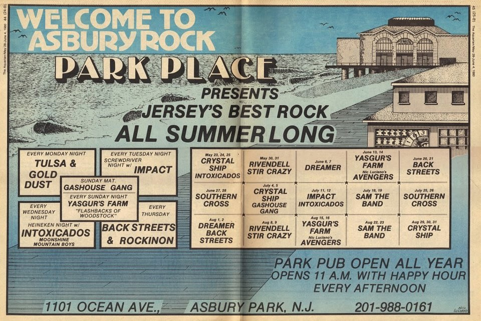 Park Place summer band lineup flyer