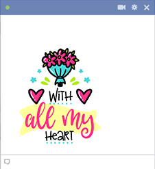 With all my heart FB sticker