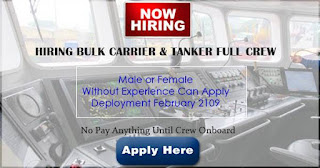 Able Seaman, Oiler, Ordinary Seaman, Wiper, Cook, Electrician, 4/E, C/E For Bulk Carrier and LPG Tanker Ship