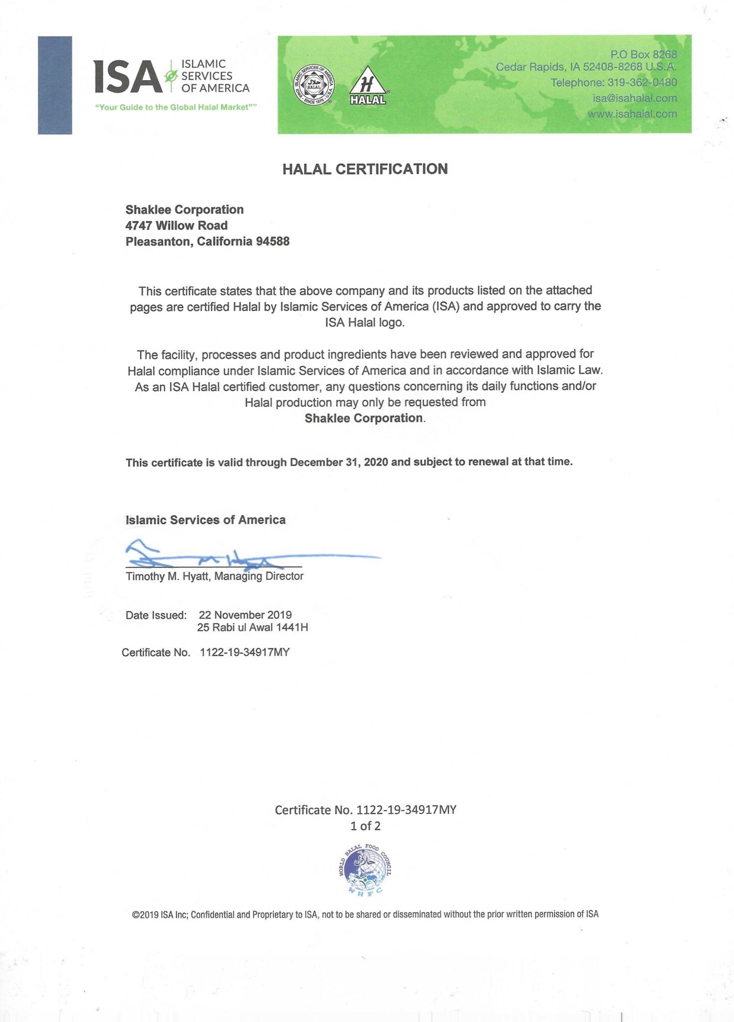 sijil halal shaklee 2020