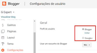 blogger, alterar perfil blogger, criar perfil blogger, google plus desativação, criar novo blog