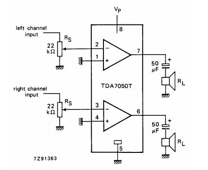 amplifiercircuits com tda7050ta low voltage audio amplifier for small radios with headphones (such as watch, pen and pocket radios) in mono (bridge tied load) or stereo applications