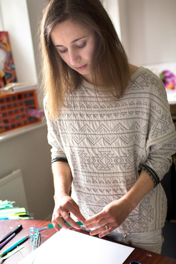 paper artist Yulia Brodskaya at work in studio
