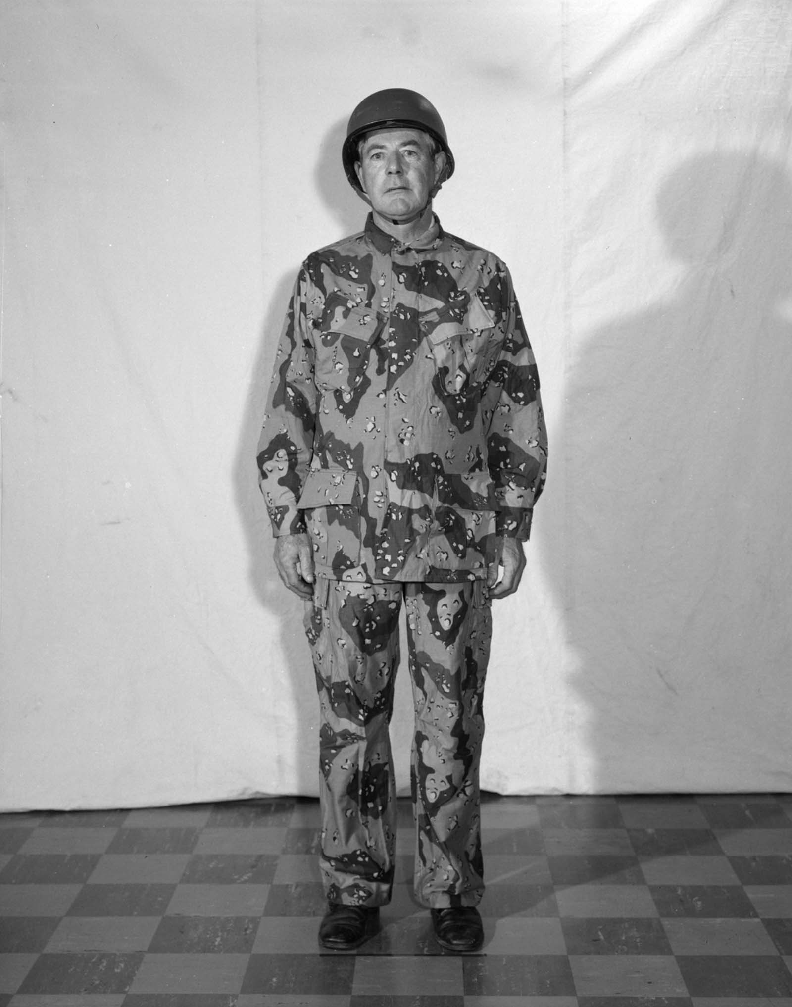 Camouflage desert fatigues, 1973.