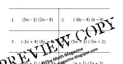 The Math Magazine: FOIL Method Multiplying Binomials