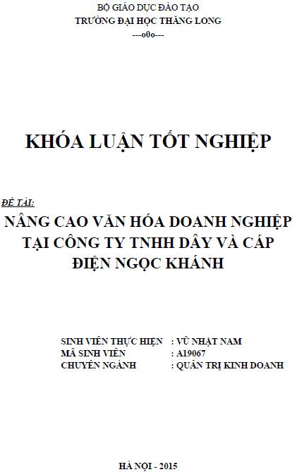 Nâng cao văn hóa doanh nghiệp tại Công ty TNHH Dây và Cáp điện Ngọc Khánh
