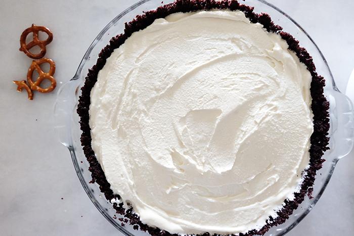 churned ice cream in cake pie crust