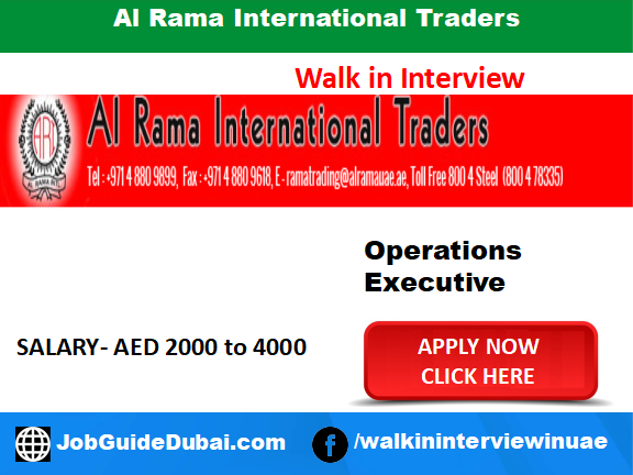 Al Rama International Traders Career for Operations Executive jobs in Dubai