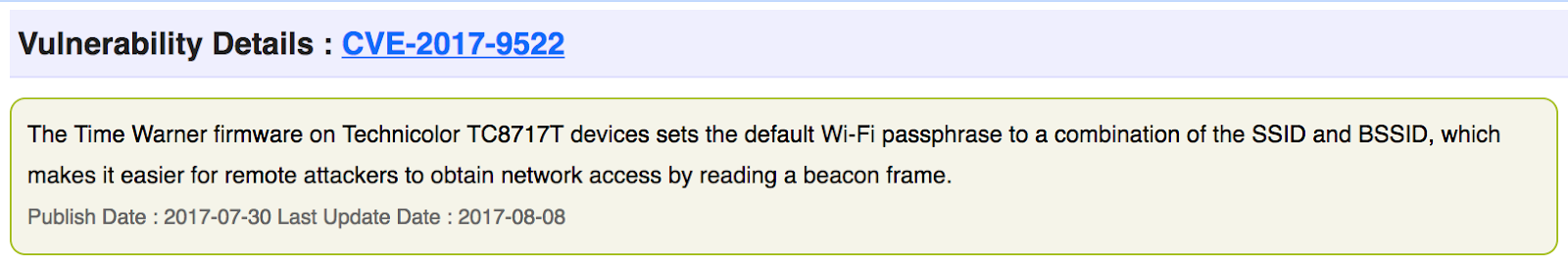 Default Wi-Fi passphrase on Technicolor TC8717T | Chris C
